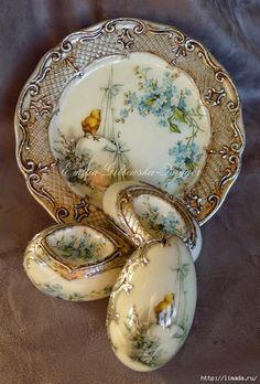 Lenyűgöző húsvéti porcelán hatású tál és tojás készítése dekupázs technikával