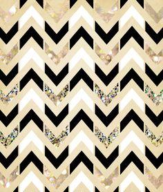 Black, White & Gold Glitter Herringbone Chevron on Nude Cream Art Print