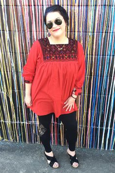 Mexican Tunic Dress in Red & Black