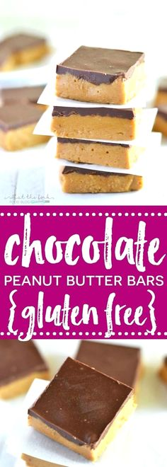 No-Bake Gluten Free  No-Bake Gluten Free Chocolate Peanut Butter Bars taste like a peanut butter cup and are insanely easy to make! Dairy free option. | Recipe from What The Fork | Gluten Free Recipes |  whattheforkfoodbl...  | easy chocolate peanut butte