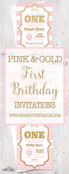 Pink and Gold First Birthday Invitations and Ideas. Girls First Birthday Invitations. Gold Glitter Invitations. First Birthday Ideas. www.swankyprintables.com