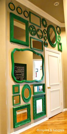 Great wall of #Emerald Mirrors from Dimples and Tangles! #ColoroftheYear