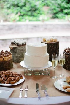 wedding cake table, handmade wedding sweets display. I'm a big fan of the wood chips for cake table.