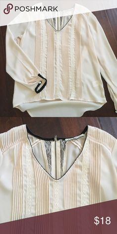 Vintage style top Light Dusty pink with pretty lace detail and black trim around neckline and sleeves. Very cute with jeans or leggings. Tops Blouses