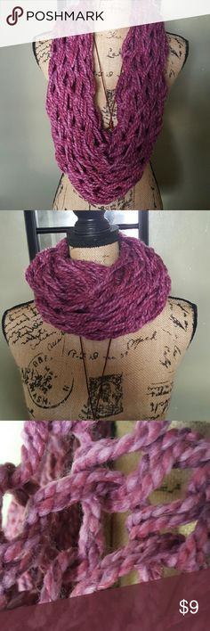 Double Arm Knitted Infinity Scarf Double Arm Knitted Infinity Scarf. Open weave. Yarn is 80% acrylic & 20% wool. New. Handmade. Accessories Scarves & Wraps
