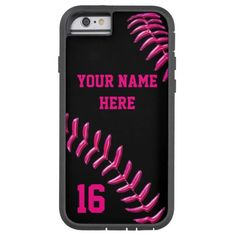 Custom Softball iPhone 6 Case with Your Name and Your Jersey Number or delete it. Black Tough Xtreme Case with Hot Pink threads