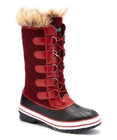 Look at this #zulilyfind! Red & Black Tall Duck Boot #zulilyfinds