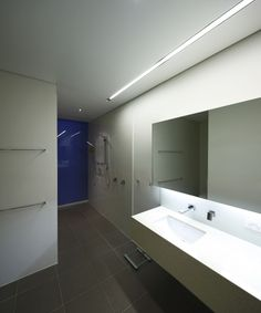 Versatile Cubism Flat Surrounded By Skyscraper Buildings Futuristic Bathroom Design And Floating Vanity With Modern Backlit Mirror Decor Th
