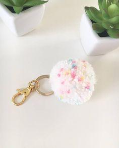 White Confetti Color Pom Pom Keychain/ Handbag Keychain/ Planner Accessories #plannerpoms #plannercommunity #plannergirl #etsy #affiliate