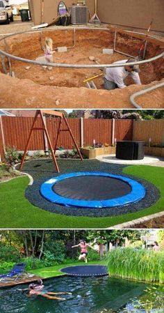 Outdoor living, backyard, entertainment, outdoor entertainment area,  kids area, kids activities, trampoline, trampoline in the ground, trampoline in the ground, trampoline near pool, diy pool, swimming area, swing set, garden, landscape, outdoor style, outdoor living, green grass, yard, backyard, outdoor games, outdoor activities #afflink