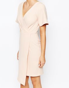 Closet Wrap Front Midi Dress with Square Front