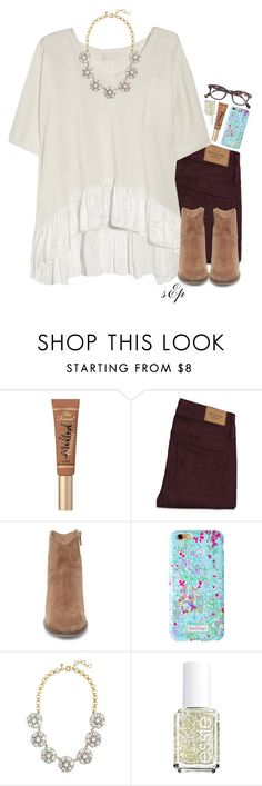 """""""•I am a lost boy from Neverland Usually hanging out with Peter Pan•"""" by thedancersophie ❤ liked on Polyvore featuring Too Faced Cosmetics, Abercrombie & Fitch, Clu, Steve Madden, J.Crew and Essie"""