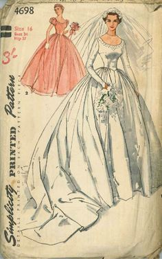 1950's Bridal Gown and Bridesmaid Pattern Simplicity 4698