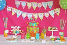 DIY  Deluxe CANDY SHOPPE Birthday Party  Printable Package hot pink blue lime green yellow. $35.00, via Etsy.