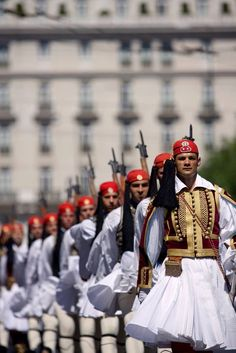 The Presidential Guard in Athens (and other views of Greece) Albania, Greek Beauty, National Guard, My Heritage, Ancient Greece, Greece Travel, Crete, Beautiful Islands, Greek Islands