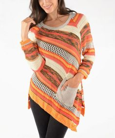 Take a look at this Rust Diagonal Stripe Sweater by Shoreline on #zulily today!