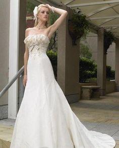 ruffle neckline a line strapless wedding dresses chapel train