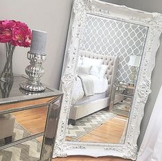 Fashionable Rabat Allover Moroccan stencil pattern will look stunning on you accent wall! Stencils instead of wallpaper. Decoration Inspiration, Room Inspiration, My New Room, My Room, Apartment Living, Bedroom Apartment, Gray Bedroom, White And Silver Bedroom, Silver Bedroom Decor