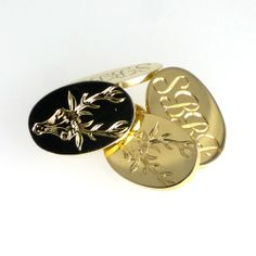 Gold crest and initial engraved cufflinks for that landmark birthday. Bespoke Jewellery, Ds, Initials, Cufflinks, Enamel, Engagement Rings, Jewels, Birthday, Gold