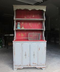 MMS Milk Paint Hutch in Shutter Gray and Tricycle Red     My first MMS Milk Paint Project in Tricycle Red turned out so great I just had to try the red again. This time I complemented the Tricycle Red with Shutter Gray. I found a vintage hutch that was just right for the project.