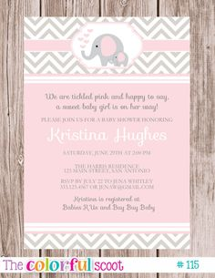 Baby Shower Invitation Elephant Blue Pink By TheColorfulScoot