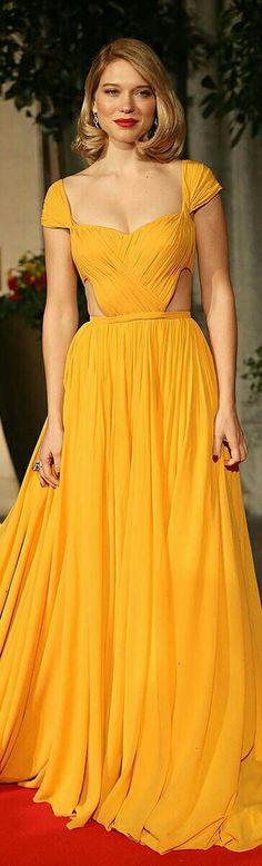 Léa Seydoux @ the 2015 BAFTAs in a Mustard Yellow Prom-Style Dress.