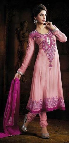 $92.59 Pink Thread Work Georgette Anarkali Salwar Kameez 25016