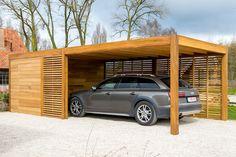 Carport of garage in hout met berging of fietsstalling - fabrikant carports & garages Carport Modern, Carport Garage, Pergola Carport, Wood Pergola, Pergola Patio, Pergola Kits, Pergola Ideas, Modern Patio, Cheap Pergola