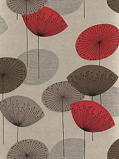 Tapete dandelion clocks - Vintage Tapete von Sanderson - Rot