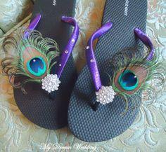 Purple+Flip+Flops+Peacock+Feather+Black+Purple+by+MyDreamWedding,+$34.99