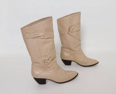 vintage 80s beige leather boots