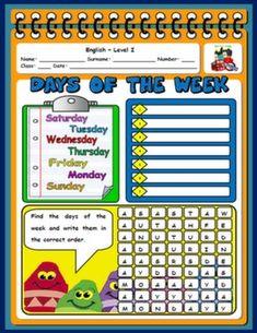 DAYS OF THE WEEK WORKSHEET#