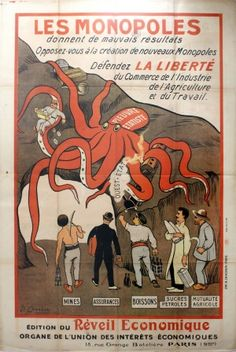 Monopolies Give Bad Results, 1920s - original vintage poster by P. Carrere listed on AntikBar.co.uk