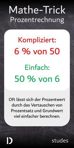 Ein ganz einfacher aber genialen #Trick, mit dem du dir die #Prozentrechnung deutlich einfacher machen kannst: Durch das Vertauschen von #Prozentsatz und #Grundwert lässt sich der #Prozentwert oft viel leichter berechnen.
