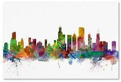 "Trademark Fine Art 'Chicago Illinois Skyline' by Michael Tompsett Ready to Hang Canvas Wall Art (30""x47"")"