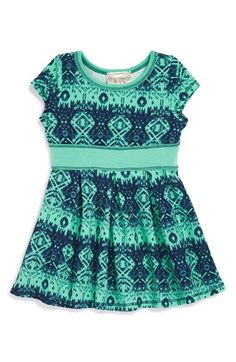Pink Vanilla Geometric Print Skater Dress (Baby Girls) available at #Nordstrom