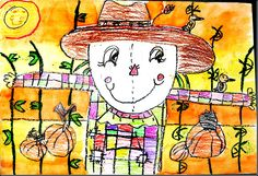 scarecrows..teach warm/cool colors (make the scarecrows outfit cool colors). Teach lines and shapes, also depth in space/overlapping.