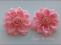 Нежные бантики с Розами Канзаши Мастер Класс / The delicate ribbon Rose Kanzashi MK - YouTube