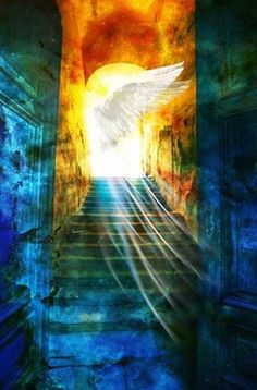 Shining Angel wings. Glorious stairs to Heaven and colors of blue, purple and gold. Holy Spirit flowing. #propheticart