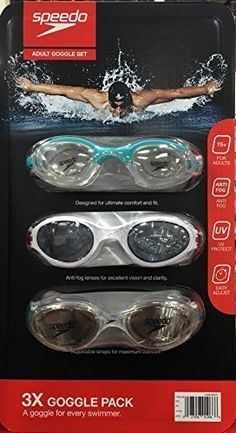 Speedo Adult Swimming Goggles 3 pk  Light Blue White and Clear -- For more information, visit image link.Note:It is affiliate link to Amazon. #throwbackthursday