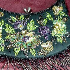 Black Beaded Sequin Purse Evening Bag metal handle rhinestone clasp seed bead #Unbranded #EveningBagpurseclutch