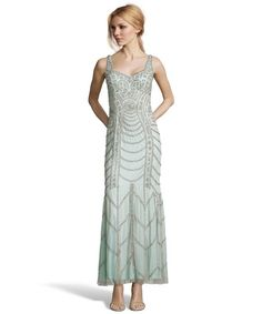 Aidan Mattox ice blue beaded mesh sweetheart evening gown | BLUEFLY up to 70% off designer brands