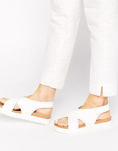 Asos GLAMOROUS WHITE CROSS FRONT FLAT SANDALS