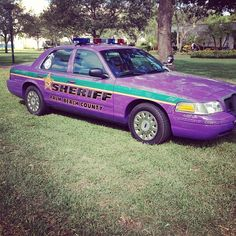 "Why is this #purple #sheriffs car here? Come ""Walk a Mile in Her shoes"" in Perper Plaza to find out!"