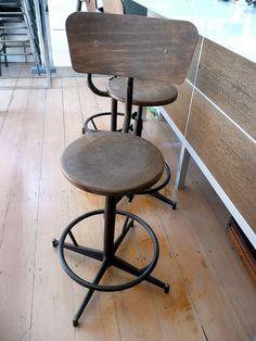 Industrial and wood bar stools c.1950 #food