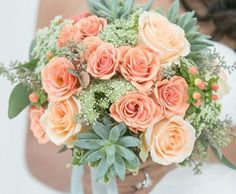 Bridal Bouquet Comprised Of Soft Coral Garden Roses, Peach Roses, Pink Snowberry, Queen Anne's Lace, Green Succulents, & Green Seeded Eucalyptus××××
