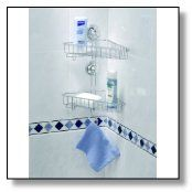 Double corner shower caddy is ideal pick for small family; for instance 2 adults at home.