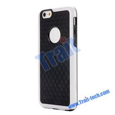 Dual Color 3D Cube Pattern Protective PC+TPU Hybrid Flexible Case for iPhone 6 4.7(White+Black)
