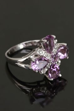 14k White Gold, Diamond & Amethyst Ring