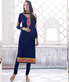 Buy Blue Georgette Churidar Salwar Kameez 71645 online at lowest price from huge collection of salwar kameez at Indianclothstore.com.